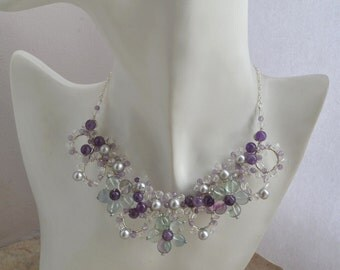 Stone Wire Statement Collar Necklace with Rainbow Fluorite Amethyst Freshwater Pearls and White Quartz