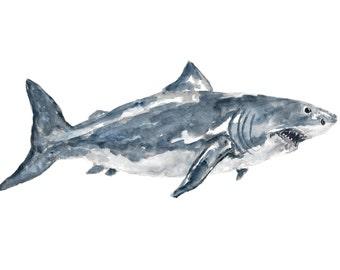 Great white shark watercolor painting, shark print, shark art, beach themed room, beach kids room, beach house decor, seaside decor, 7X5