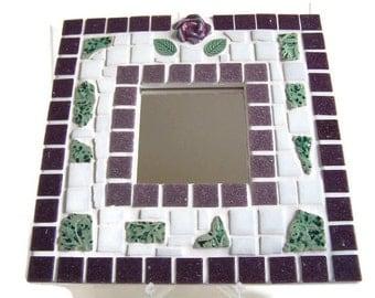 Mosaic Wall Mirror - Purple, White and Green Mosaic