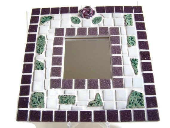 Mosaic Wall Mirror - Purple, White and Green Mosaic