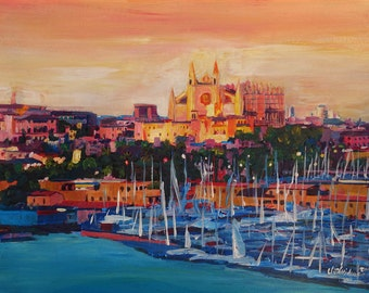 Spain Balearic Island Palma De Majorca With Harbour And Cathedral - Limited Edition Fine Art Print - Original Painting available