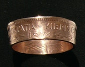 Copper Coin Ring 1974 Cyprus 5 Mils, Ring Size 9 and Double Sided
