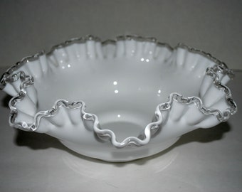 Fenton silver crest ruffled edge   milk glass bowl vintage glass bowl  white glass