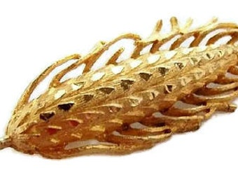 "Mamselle Brooch Pin Designer Signed Fancy Ear of Corn Gold Textured Metal BIG 3 1/4"" Vintage"