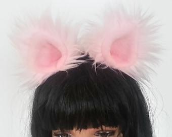 Pink Cat Ears - Halloween- Costume- Cosplay- Animal Costume- Faux Fur- Furries - Anime- Cat Costume- Pink- Cat Birthday Party- Harajuku