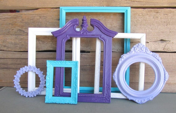 Purple Lilac Turquoise and White OPEN Frames Set of 7   Upcycled Frames  Dorm Room Teenage. Purple Lilac Turquoise and White OPEN Frames Set of 7