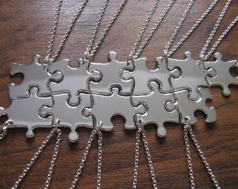Eleven Jigsaw Puzzle Silver Pendants Necklaces