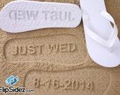 Wedding Date Flip Flops Custom Sand Imprint *Check size chart before ordering*