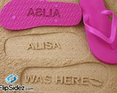 Custom Name Sand Imprint Flip Flops Personalized *Check size chart before ordering*