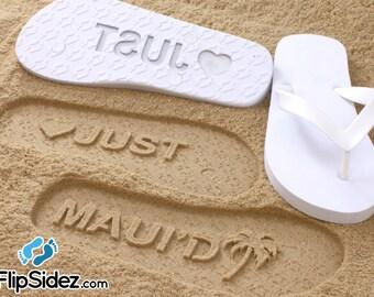 Custom Beach Wedding Flip Flops, Wedding Shoes, Bride and Groom Gift, Honeymoon Present, Destination Wedding, Mens/Womens Sizes