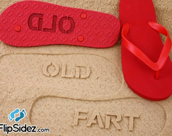 Retirement & Birthday Sand Imprint Flip Flops *Check size chart before ordering*