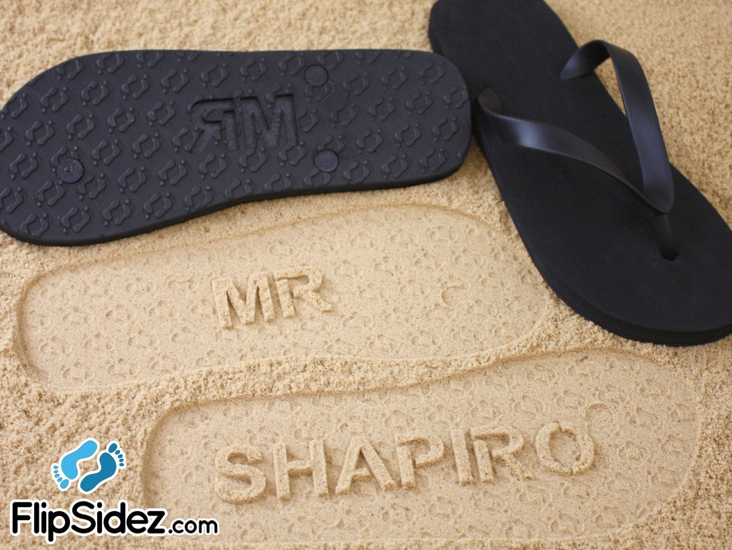 2a310177e3352f Groom Flip Flops Personalized Groomsmen Best Man Wedding
