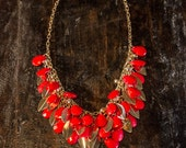 Red and gold necklace- bridesmaids, bridal, and special occasion