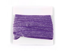 FROSTED 5/8th inch Stretch Glitter Elastic for Headbands - 5 or 10 yards - Grape