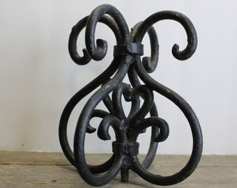 Antique Wrought Iron Finial // Forged Decorative Accent