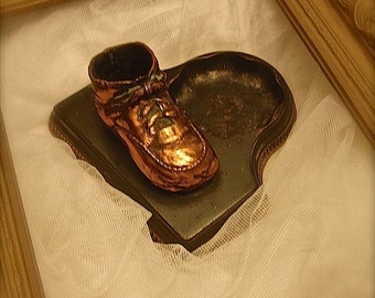 Vintage bronze baby shoe, vintage baby decor, baby shower decor, vintage baby shower