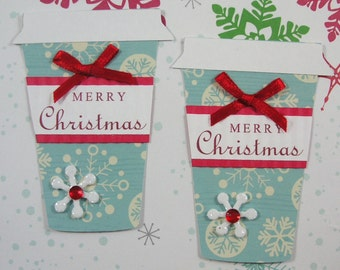 Coffee, Latte Christmas Cup Embellishment, Tag, Set of 2, Vintage