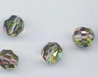 Eight beautiful vintage Swarovski beads - art 5000 - 11 mm - effect color vitrail medium