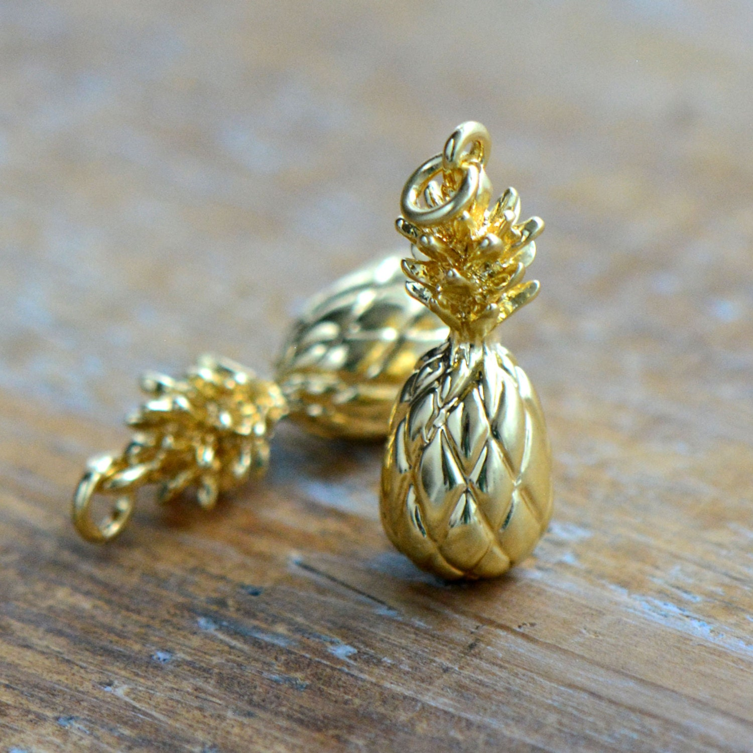 1 Small Pineapple Charm 24k Gold Plated Pineapple Fruit