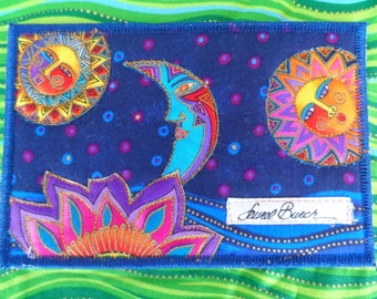 Quilted  Postcard - Laurel Burch Sun Moon Postcard - Handmade  Postcard - Fabric  Postcard - Patchwork  - Artist Postcard - Birds Post Card