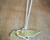 Tennessee in my Heart Necklace. Nashville.Memphis. Knoxville. Chattanooga. Tennessee. Handmade. Love. Tennessee. Home