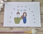 Mr And Mrs Greetings Card. Perfect card for everyone - men, women, children. Inspirational, uplifting, whimsical art card. Soulful. Wedding.