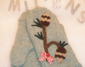 Ladies Upcycled, Recycled Repurposed Wool Sweater Mittens