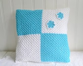 "RESERVED Crochet granny pillow case , granny square cushion cover,  , white and pastel turquoise , 16 "" x  16 ""throw pillow cover,"