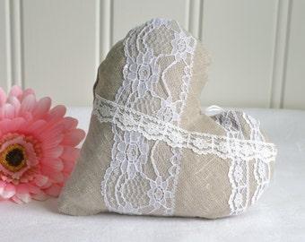 Handmade linen heart, ready to hang home decor, wedding decoration, hanging valentine heart