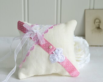 Pink and white primitive ring bearer pillow , handmade linen pin cushion, country cottage home decor