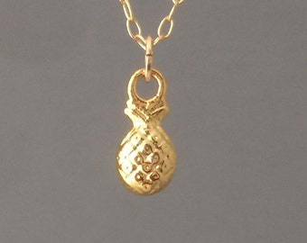 Gold Pineapple Necklace also in silver