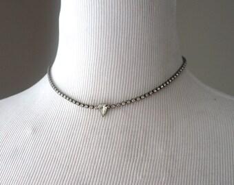 Vintage Rhinestone Pear Teardrop Necklace - Weddings, Retro, Art Deco, 50's