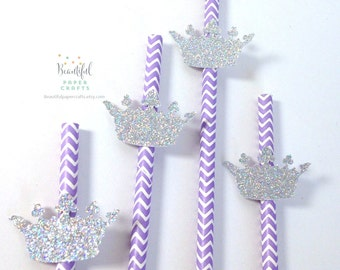 25 Silver Princess Crown Straws| Lavender and Silver Party | Purple Princess Party | Sophia Party 1st Happy Birthday Decorations