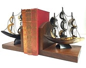Nautical Sailboat Bookends, Maritime Boat Captain Home Decor, Unique Christmas Gift For Dad, BOOKENDS For Bookshelf,  Ocean Sailor