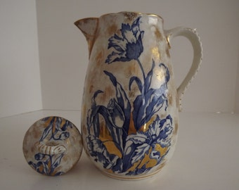 Rare French,Richards & Company,Philadelphia Ironstone Coffee Pot, Blue Iris Transfers with Gold Gilding Circa 1845