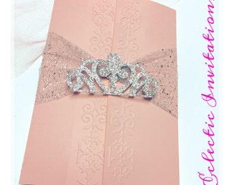 50 Pink Princess Invitations - Quinceañera, Sweet 16, birthday party invitations.