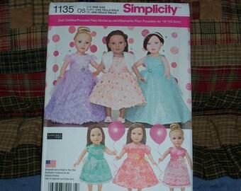 Simplicity 1135/673...American Girl Doll Pattern..18 Inch Doll Pattern..Fancy Party Dress Patterns..Cute New 2015 Pattern