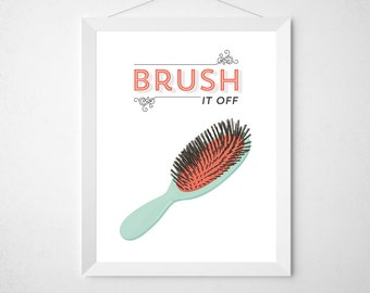 Bathroom Decor Print - Brush it Off - Hair brush vanity hair salon style minimal modern mint coral funny girly teen bath room wall poster