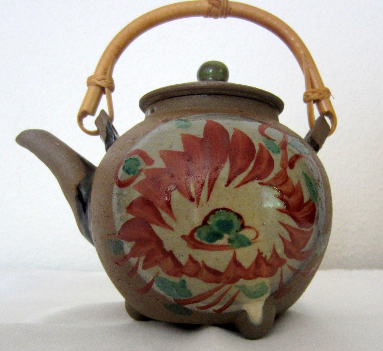 Asian teapot tea pot with bamboo handle brown clay with - Bamboo teapot handles ...