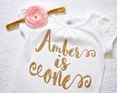 Pink and Gold Birthday shirt AND Headband, Personalized Birthday shirt, Birthday outfit, Baby Birthday Shirt, 1st Birthday outfit, Pink Gold