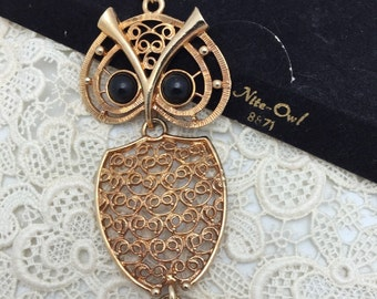 Owl Necklace Sarah Coventry Necklace Vintage Necklace Nite Owl