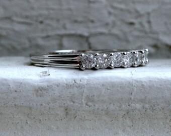 Sparkly Vintage 18K White Gold Diamond Shared Prong Set Wedding Band - 0.54ct.
