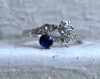 Awesome Vintage 14K White Gold Twin Stone Diamond and Sapphire Ring - 1.12ct.