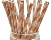 25 Kraft with White Stripes Paper Straws for Food Crafts, Birthdays, Party Packs - Biodegradable (Stylish Stix by Queen and Co)