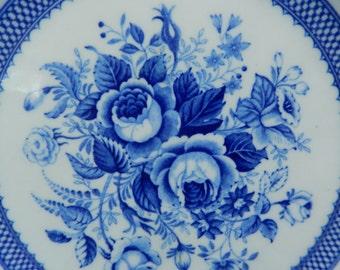 Vintage Dish - Blue Roses China - Cobalt Blue China - Maruta China Japan - Cottage Wall Decor - Rustic Farmhouse