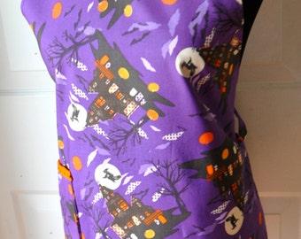 Sale! Halloween apron, Purple Haunted Mansion apron, Halloween ruffled apron, Halloween Haunted house Women's full apron.  Ready to ship.