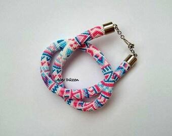 AN039 - Aztec Design Bead Crochet Necklace - Tribal Design Beaded Necklace - Beadwork Necklace -  Bead Crochet Necklace