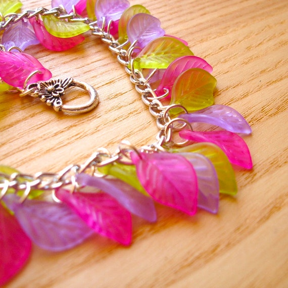 Charm Bracelet - Leafy Lucite Pink Purple and Green - Unique Fashion Jewellery