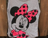 Medium Minnie Mouse Upcycled Tshirt Bag / Sleepover Bag / Project Bag