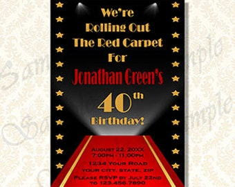 Hollywood red carpet birthday invitations all the best invitation black tie invitation red carpet party hollywood filmwisefo